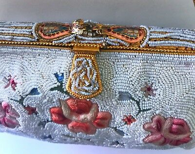 Rare* Victorian Micro Glass Beaded French Petit Point Enamel Jeweled Puffy Purse