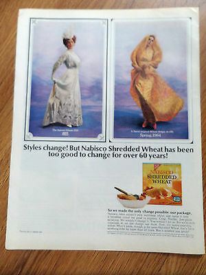 1964 Nabisco Shredded Wheat Cereal Ad 1903 1964 Fashions Change Theme
