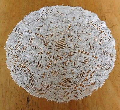 Antique Lace Dolly Needlework Dollie Round Doll House Tablecloth