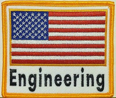 ENGINEERING Emblem USA American Flag Embroidered Patch W/ VELCRO® Brand Fastener