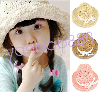 Girls Kids Big Brim Felt Straw Hat Fedora Children Derby Panama Sun Visor Caps