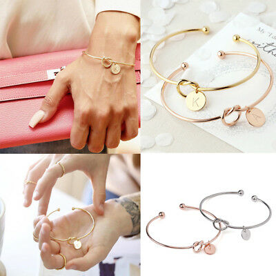Women Simple Initial Knot Bracelet Bridesmaid Opening Punk Cuff Bangle Jewelry