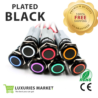 16mm Metal Annular Push Button Black Switch Ring LED Light Momentary Latching