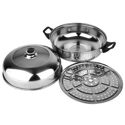 2 Tier Stainless Steel Steamer Induction Cookware 28cm Steam Pot Cooker with Lid