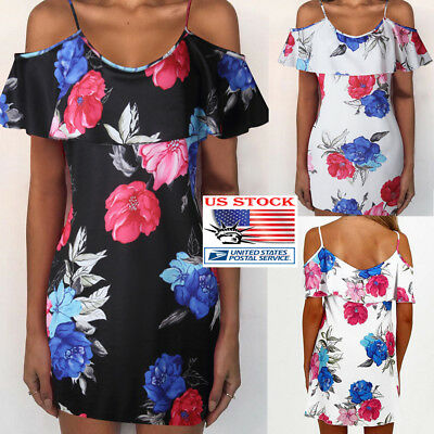 Womans Summer Off Shoulder Floral Print Mini Dress Evening Party Beach Sundress
