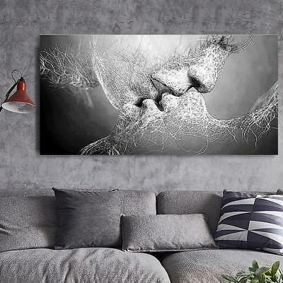 BLACK & WHITE Love Kiss Abstract Art on Canvas Painting Wall Art ...