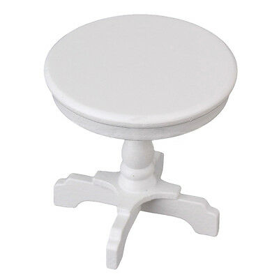 Dollhouse Miniature Furniture White Round Table Model For 1/12 scale Coffee.US