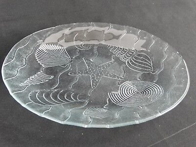Contemporary Art Glass Charger Display Bowl Platter Sea Shells theme