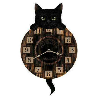 Nemesis Now Kitten Tickin' Wall Clock 32cm Black Cat Pendulum Tail