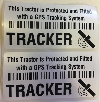 2 x GPS Tracker Fitted Warning Alarm Stickers- TRACTOR