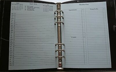 A5 Filofax 2018/19 Month On One Page + Notes Diary Insert Refill Start Any Month