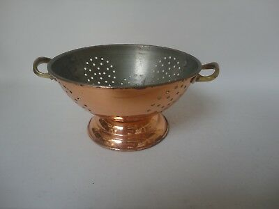 Vintage ? Copper ? Metal Colander Brass ? Handles Kitchenalia E4