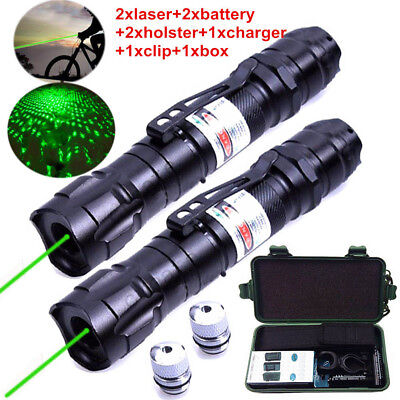 Military 5mw Starry Laser Pointer Lazer Pen 532nm Visible Beam+Battery+Charger