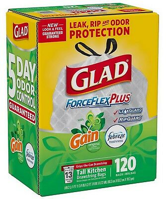 120 Glad ForceFlexPlus 13 Gallon Tall Kitchen Trash Bags Scented Febreze Gain