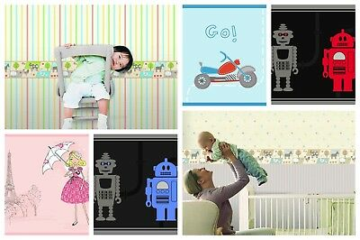 Childrens Cute Themed Bedroom Wallpaper Borders Robots Animal
