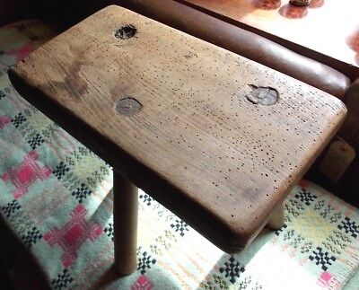 Antique ELM or ASH MILKING STOOL seat 3 legs oblong primitive rustic country