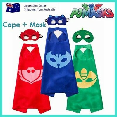 Kids PJ Masks Cape and Mask Set Superhero Costume Gekko Owlette Catboy Kid Party