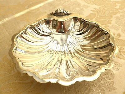 Vintage Silver Plated Clam Shell Shaped Footed Butter Dish   1360382/386