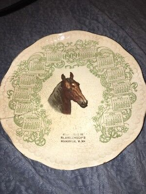 ANTIQUE 1909 ADVERTISING CALENDAR HORSE PLATE Blankensop's West Virginia