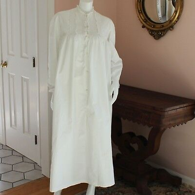 Victorian / Edwardian Heavy White Cotton Long Sleeve Pintucked Night Gown