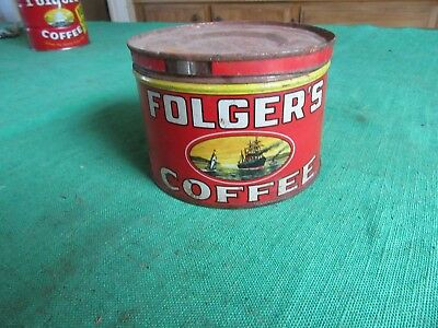 Vintage 1931 Folgers Coffee Can 1 Pound Size   Lot 18-28-2