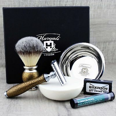 4 PIECE CLASSIC SHAVING SET Synthetic Brush & DE Safety Razor Perfect Gift Men