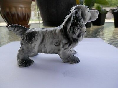 "Vintage Cast Iron Full Figure Cocker Spaniel Dog 6"" X 31/2"" Black and White"