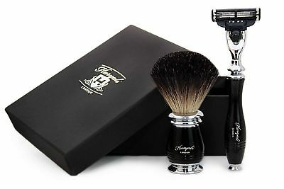 Pure Black Badger Hair Shaving Brush in Black With Gillette Mach 3 Razor For Him