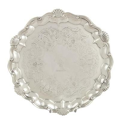 Antique Early Victorian Sterling Silver Tray/waiter 1849 - With The Help Of God