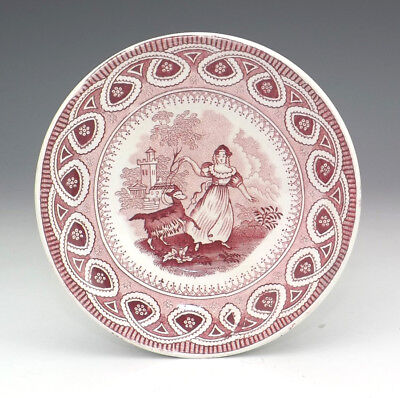 Antique Staffordshire Pottery - Miniature Red Transferware - Girl & Goat Plate