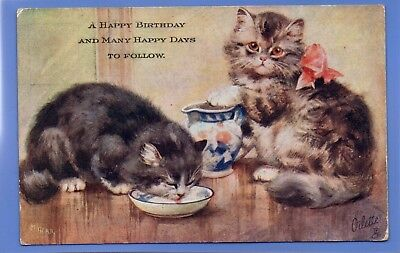 Old Vintage Tuck Postcard Artist Signed M Gear Two Cats Kittens Drinking Milk