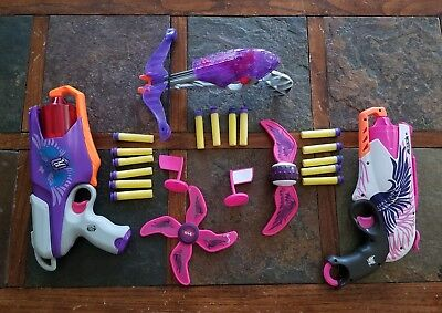 Lot of 2 Nerf Rebelle Dart Guns and a Pistol Grip Crossbow Plus Accessories