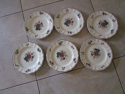 "6 assiette dessert faiencerie Sarreguemines 2 impacts modèle ""Agreste"" lot 2"