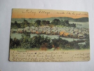 Singapore Malay village postcard 1905