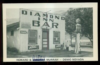 "1950's Denio,NV - Howard & Betty Murrah ""Diamond Inn Bar"" Union 76 Gas Postcard"
