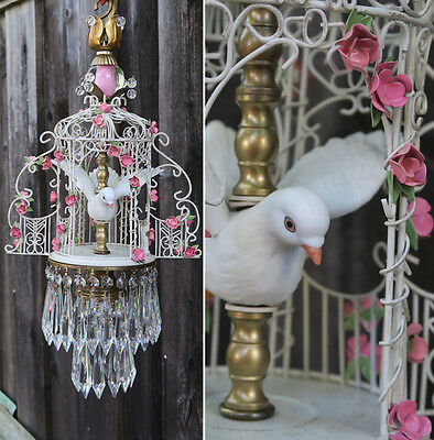 GAZEBO lamp chandelier Porcelain Brass Tole Shabby Pink Rose Love DOVE Birdcage