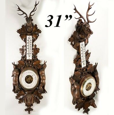 "Antique Black Forest Carved 31"" Fruits of the Hunt Barometer: Stag, Dog, Fox ++"