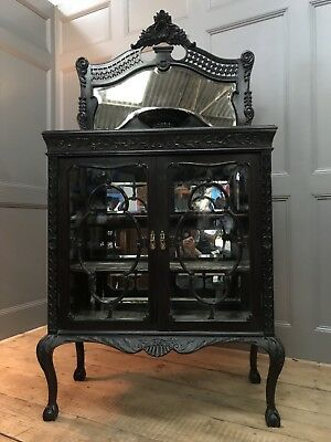 Victorian Edwardian Gothic Ebonised Antique Chiffonier Display Cabinet