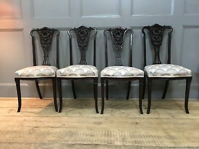 4 Edwardian Victorian Ebonised Antique Dining Chairs