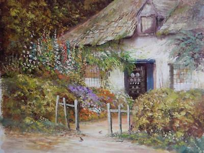 vintage old PAINTING bright paint COTTAGE signed