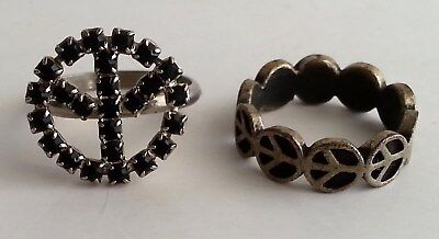 Lot of 2 Vintage 1960's Peace Sign Rings Hippy Hippie Mod Love Costume Jewelry