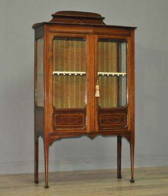 Quality Small Antique Edwardian Inlaid Mahogany Display Cabinet, Lined Shelves