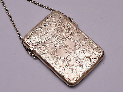 Genuine Art Nouveau Sterling Silver Card Case