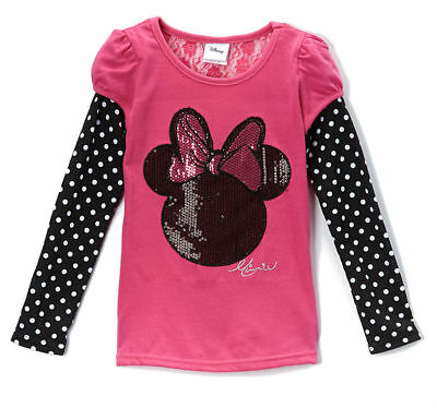 Disney Girls Lace Top Tee Shirt t Minnie Mouse Bow Long Sleeve Twofer Size 4 6