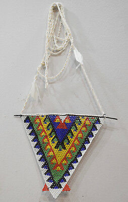African Zulu Large Beaded Triangle Pendant Necklace Unmarried Woman Necklace