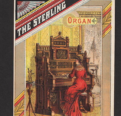 Sterling Organ 1800's Artistic Parlor New York Victorian Advertising Trade Card