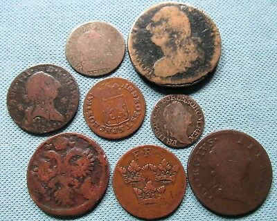 Lot of 8 1700s Europe Old World Coins France Spain Ireland Prussia Sweden etc