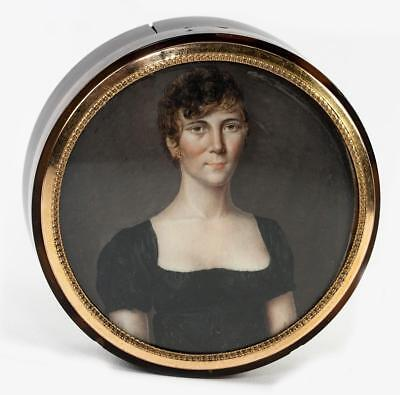 Antique French Empire Portrait Miniature, Woman, Table Snuff Box, Hair Art