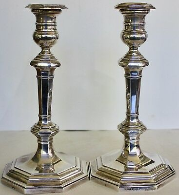 10 Inch Pair English Sterling Silver Candle Sticks Mappin Webb Sheffield 1947