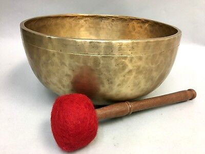 "XXL Rare Antique Hand Hammered Healing Singing Bowl A Chakra 11.6"" ID#O10 109hz"